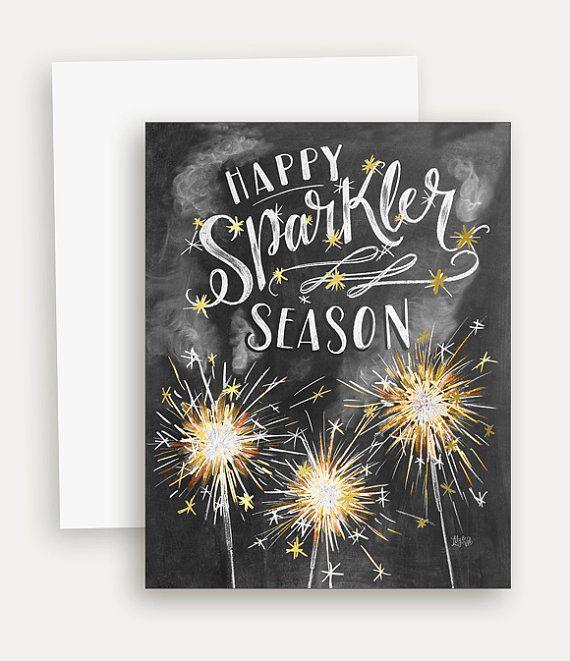 Summer Greetings - Sparkler Art - Summertime Card - Hand Lettered Card - Chalkboard Art - Chalk Art