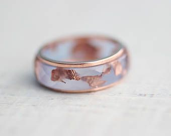 This is amazingky beautiful! Resin&Copper Ring Set Copper and Resin Ring Set Copper Flakes Aquamarine Ring