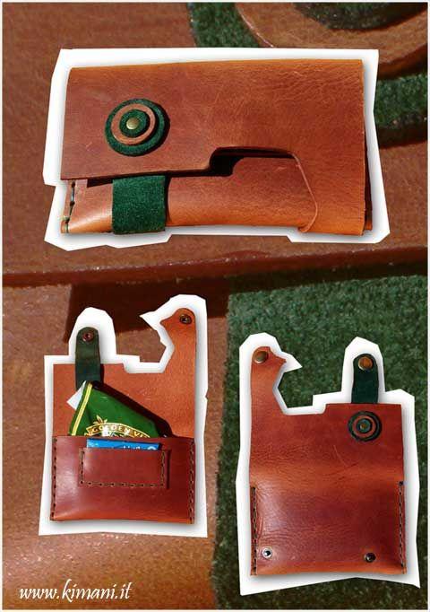 Porta tabacco in cuoio cucito a mano con dettagli in pelle scamosciata verde oliva. #Portatabacco #TailorMade #TobaccoBag #KimaniDesign