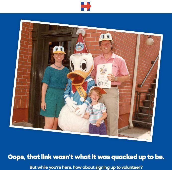 """Rather than a standard """"404 error"""" message, Hillary Clinton shared an old photo with her family and a pun. We added a few more to switch it up."""