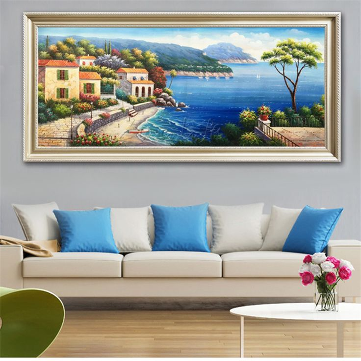 Hand-painted Mediterranean Sea view room painted the sitting room decorates a wall painting on the canvas art wallpaper image 33