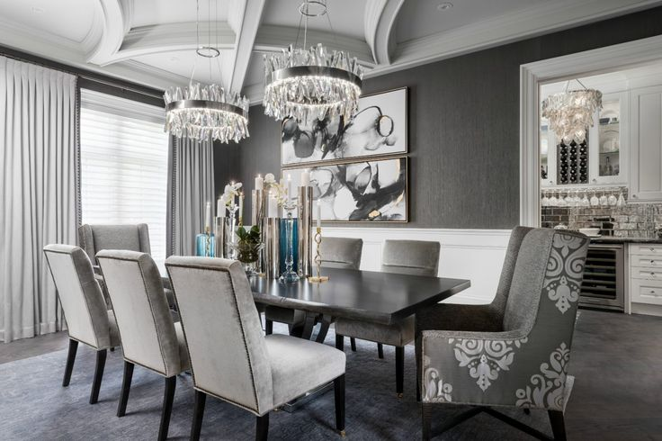 Sophisticated grey dining room with moulded ceiling detail