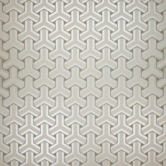 Papier peint gris entrelacs Trifid - Osborne & Little - Au fil des Couleurs