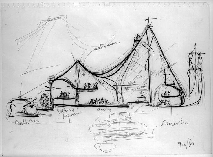 GIOVANNI MICHELUCCI, schizzi Chiesa sull'autostrada (S.Giovanni Battista a Campi Bisenzio) #sketch