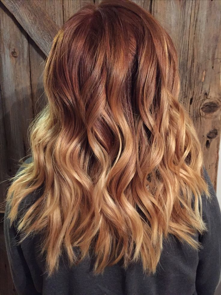 Copper Red to blonde ombré with balayage highlights