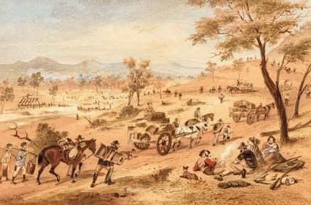 S.T.Gill: The Rush to the Ballarat Goldfields in 1854 c. 1872