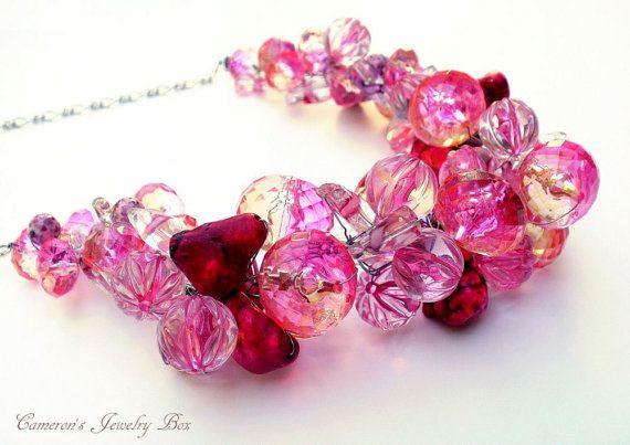 Honeysuckle Pink Statement Necklace