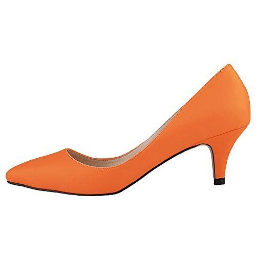 HooH Damen Matte Rutsch Süßigkeit Farben Büro-Dame Mary Jane Arbeit Pumps-Orange-42 - http://on-line-kaufen.de/hooh/42-eu-hooh-damen-matte-rutsch-suessigkeit-farben-6