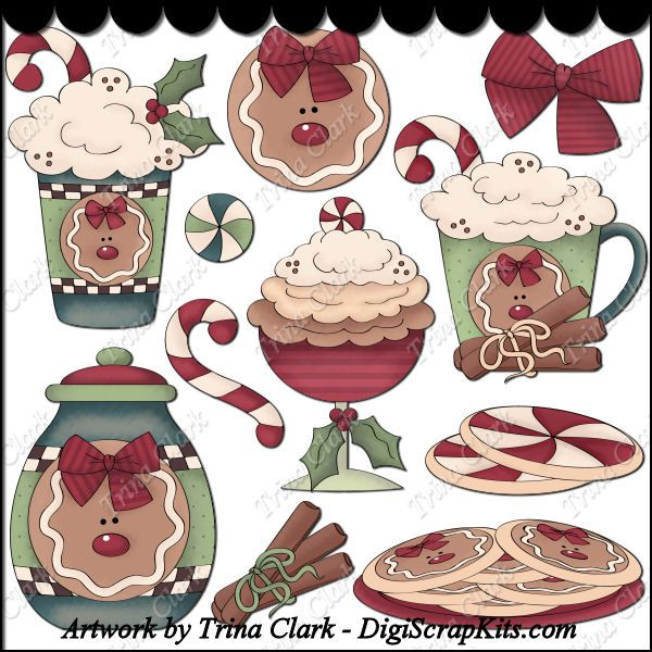 Christmas Sweets 1 Clip Art : Digital Scrapbook Kits, Cute Clip Art, Cutting Files, Trina Clark, Instant downloads, commercial use allowed, great prices.