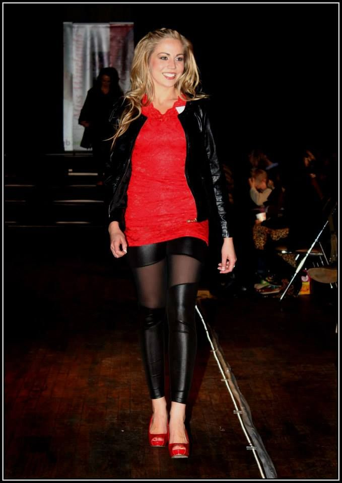 Black leather jersey with studs - R385 Red lace top - R385 Black leggings with gauze - R250