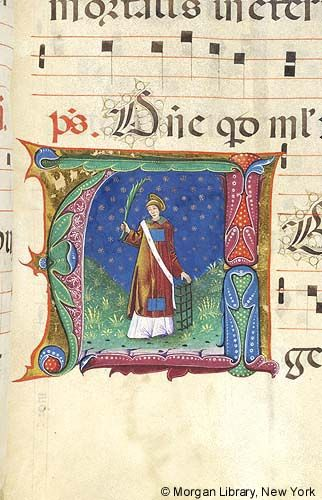 Lawrence of Rome, within initial A | Antiphonary | Italy, Milan | ca. 1470-1495 | The Morgan Library & Museum