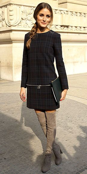 plaid drop-waist Zara dress and taupe over-the-knee Stuart Weitzman boots, (outside the s/s 2014 Carven show)