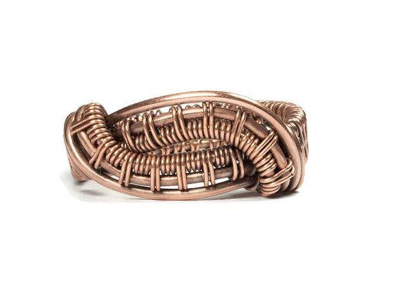 Dimensione 6 anello di filo rame gioielli di whitecloverstudios