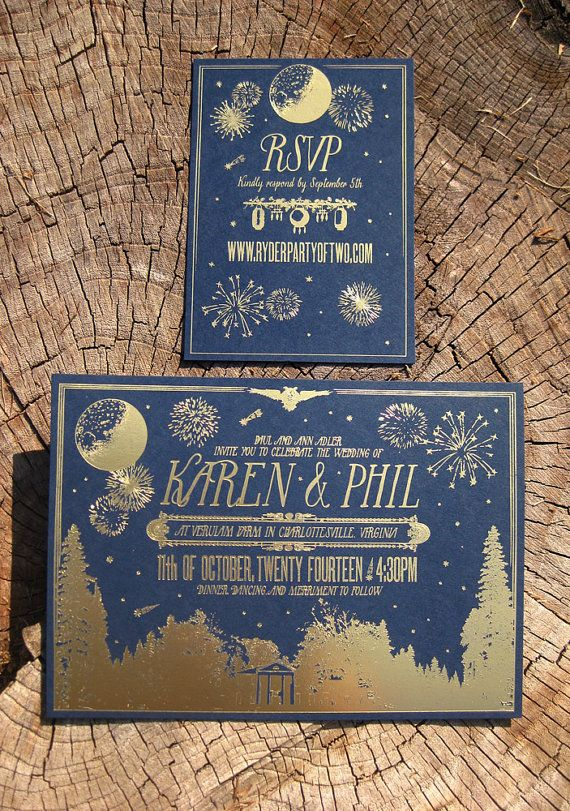 Rustic Moonlight Nighttime Chic Gold Foil Wedding Invitation Suite