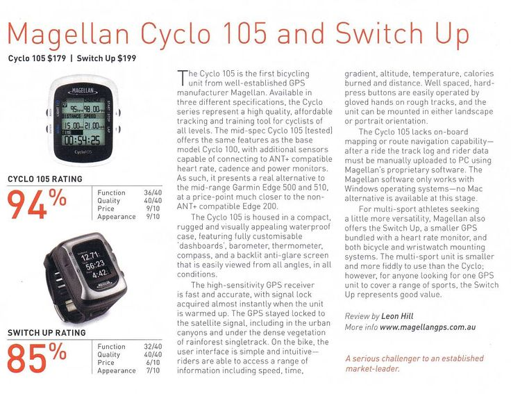 Great review of the Cyclo 105 Bike GPS and Switch Up GPS watch in the latest issue of Ride On Magazine