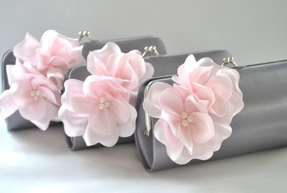 Set of 5 Small Bridesmaids clutches / Wedding clutch - Gray and Pale Pink - CUSTOM COLOR via Etsy