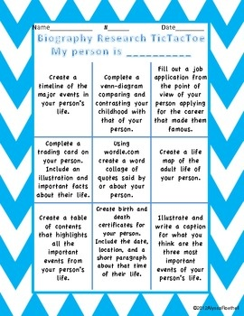 Biography Research TicTacToe Choice Board- This is another Choice Board that could be given to your students with directions to change it to make it more challenging.