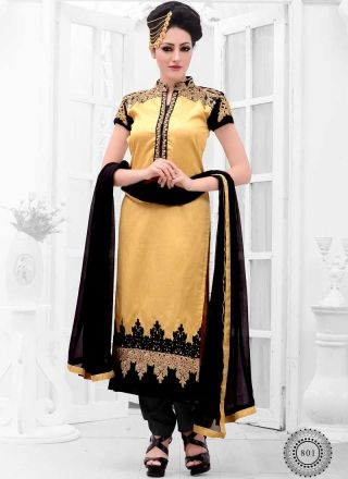 Golden And Black Raw Silk With Cotton Embroidery Work Churidar Suit