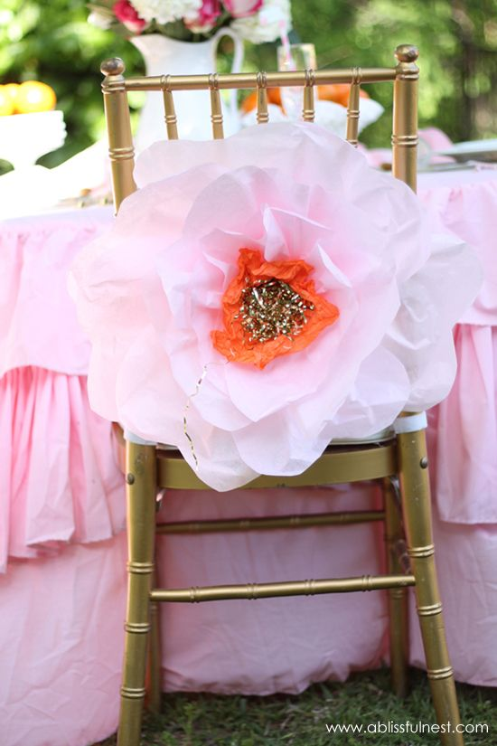 Oversized Tissue Paper Flowers - DIY Tutorial #FavoriteThingsGiveaway #ablissfulnest #tissuepaperflower