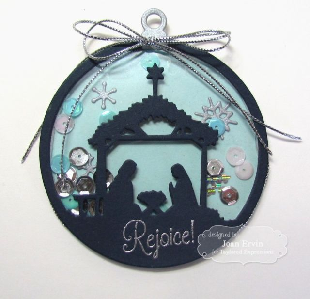 Featuring Taylored Expressions' die Away In The Manger SKU 440242, available at www.addictedtorubberstamps.com  Ornament created by Joan Ervin.