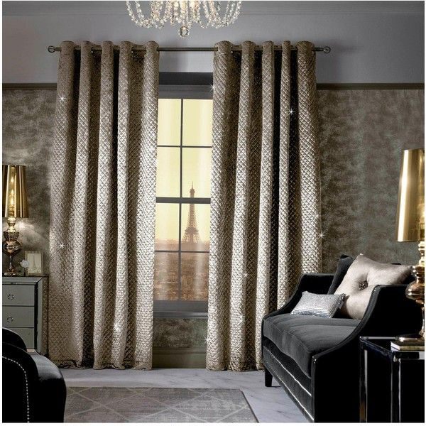 Kylie Minogue Grazia Lined Eyelet Curtains 66X90 (£149) ❤ liked on Polyvore featuring home, home decor, window treatments and curtains