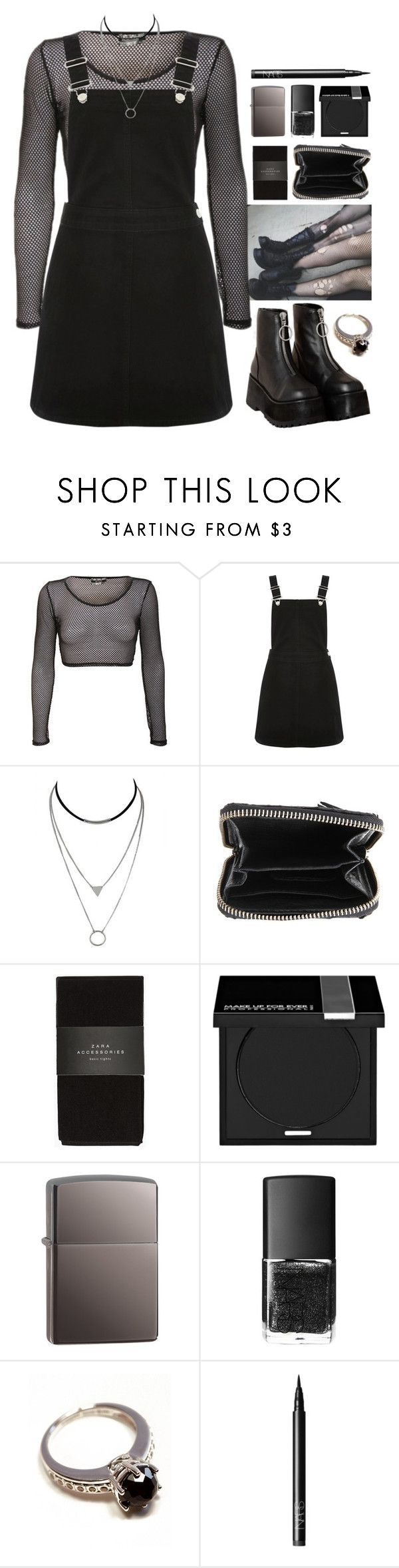 """""""So Emo"""" by brigi-bodoki ❤ liked on Polyvore featuring Oasis, Zadig & Voltaire, Zara, MAKE UP FOR EVER, Zippo, NARS Cosmetics and Anna Sheffield"""