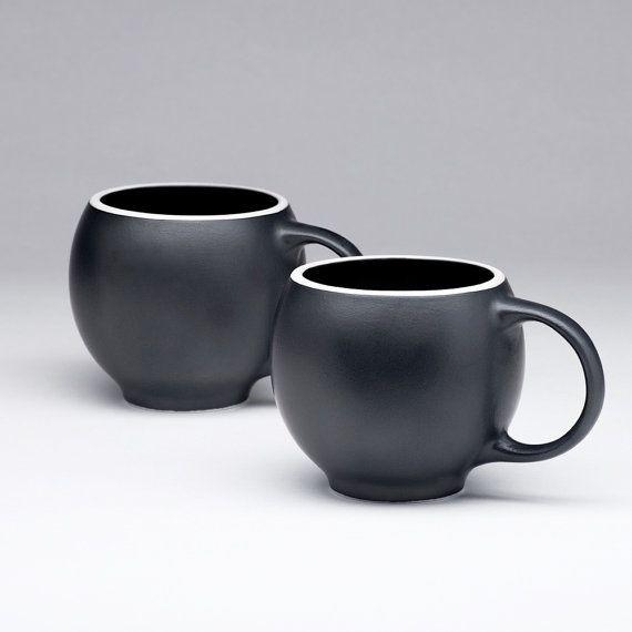 EVA teacups in black matte porcelain with white rims - set of 2