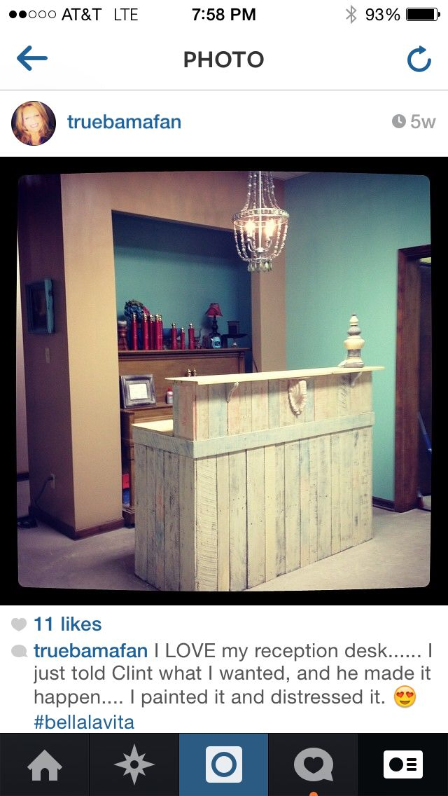 Forniture behind hostess station Bella La Vitas Reception desk..... Also made from pallets.