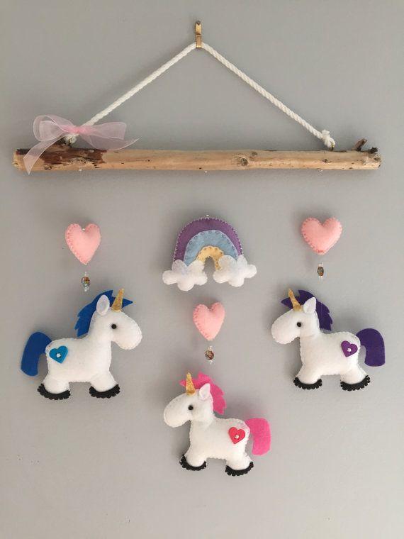 Unicorn Driftwood Mobile by HeartFELTHangables on Etsy
