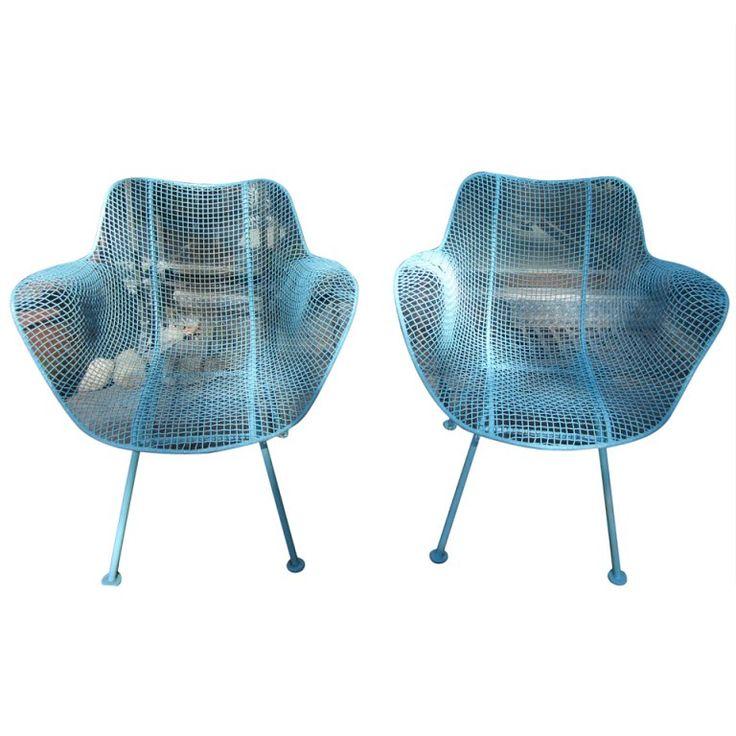 pair woodard mesh sculptra patio lounge chairs midcentury modern