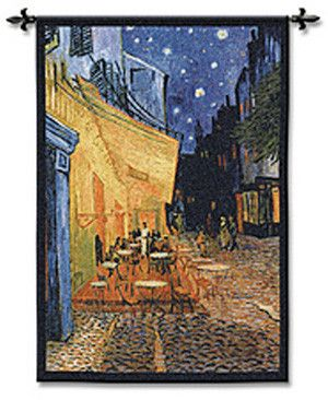 Tapestry Art, Cafe Terrace at Night. Tapestry Wall Art - The Cafe Terrace on the Place du Forum, or more commonly known as Cafe Terrace at Night, is an oil painting by Vincent Van Gogh (1853 -1890),...