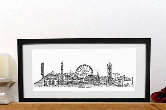 Manchester skyline print  -black and white