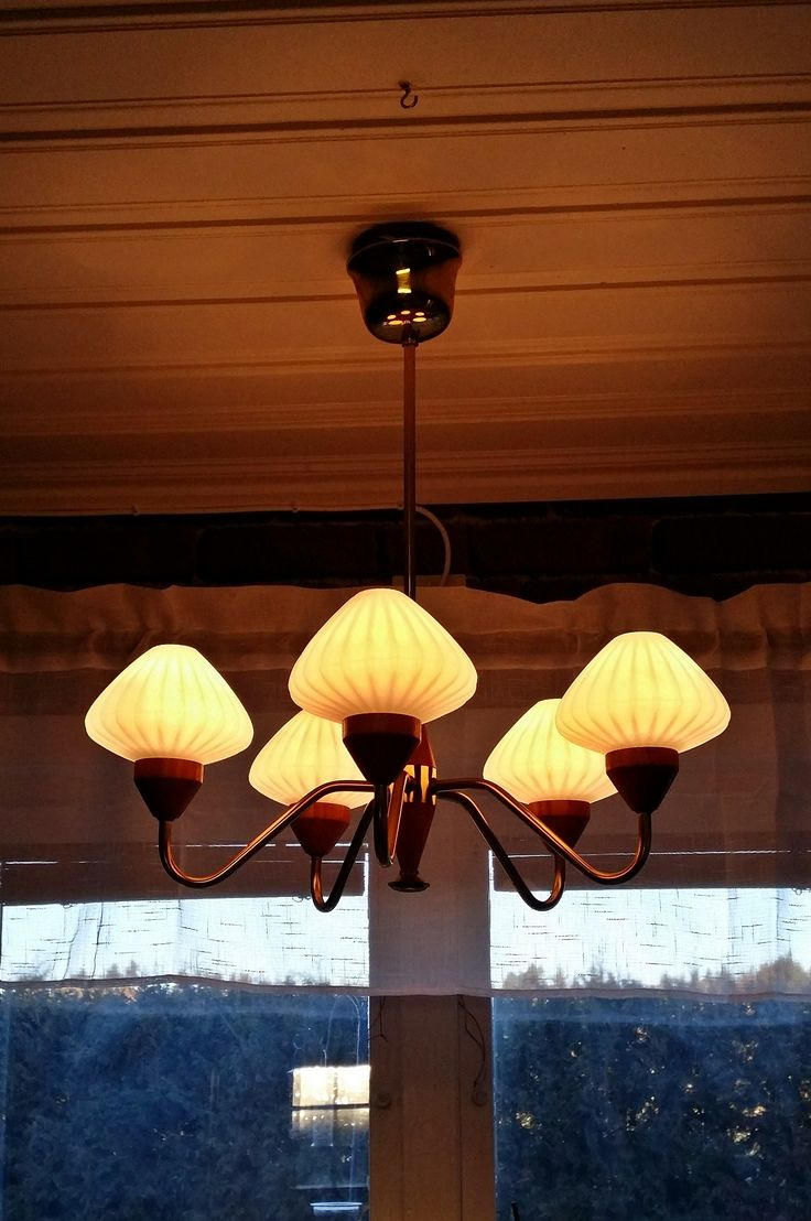 Lampa Teak/Mässing/Opalglas 50-60tal köpt på Fa-fyndet (Lidköping) för 650kr