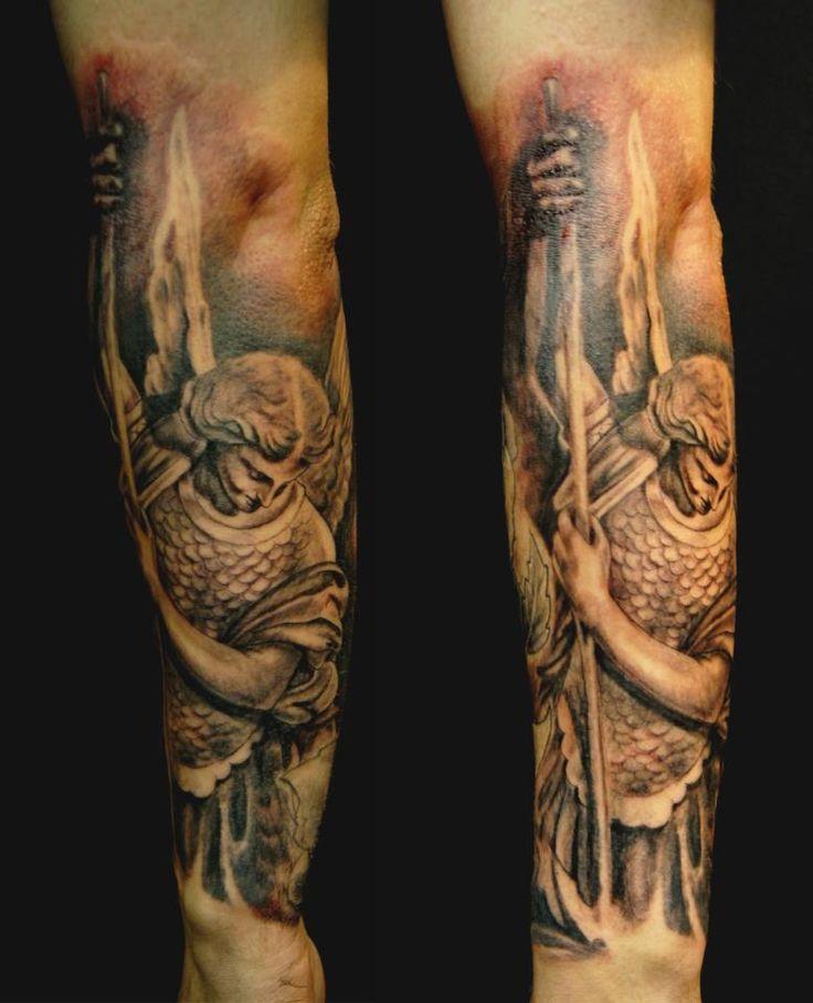 Chronic Ink tattoos, Toronto Tattoo - St. Michael forearm sleeve