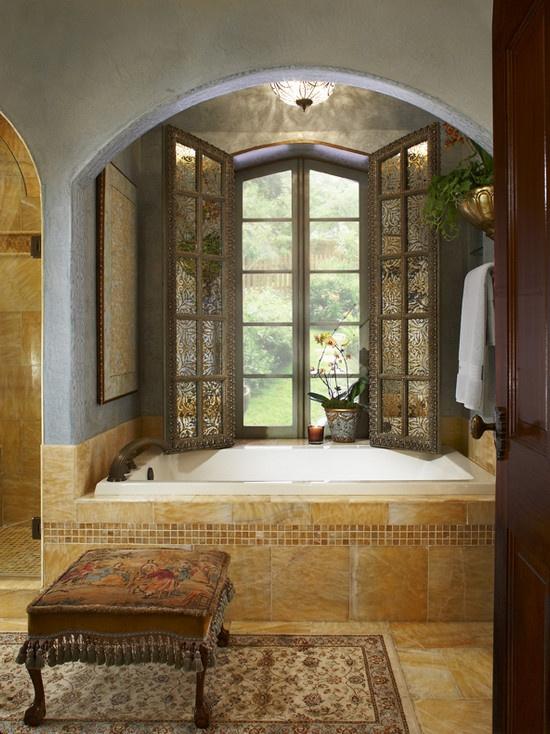 master bath tub with great window, great tile surround and nice archway above: Bathroom Design, Bathroom Tubs, Mediterranean Bathroom, Beautiful Bathroom, Bathroom Remodel, Bathroom Ideas, Master Bath, Bathroom Window, Blue Bathroom
