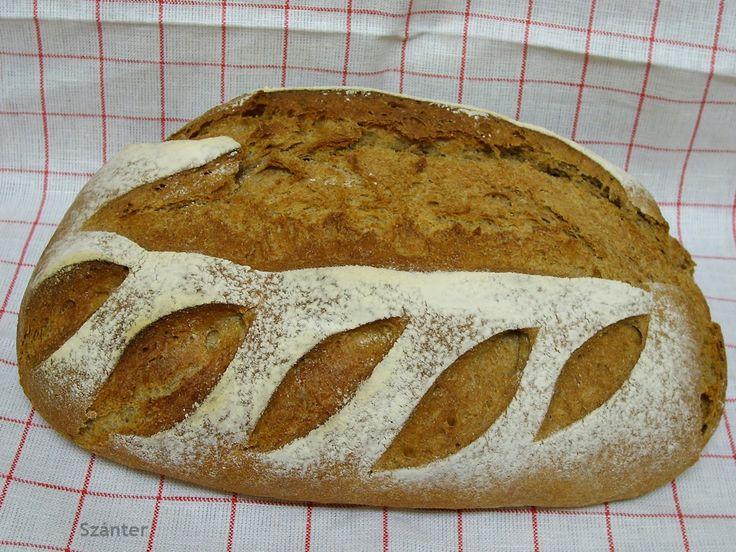 Rozslisztes és tönköly-búzalisztes kenyér.     300 ml víz(ez lehet több vagy kevesebb)   200 g  rozsliszt   250 g  Tönkölyb...