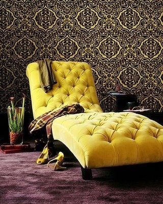 yellow chaise-in velvet