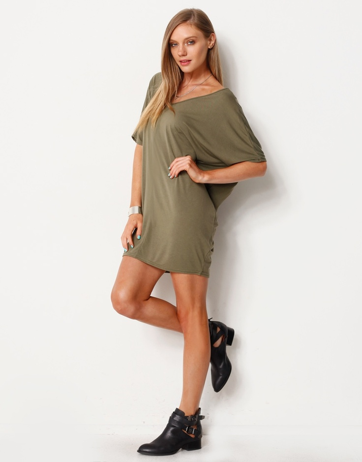 73462VP - V-Neck T-Shirt Dress | Crazy for Khaki | Pinterest