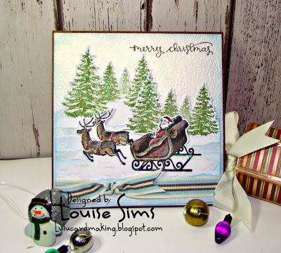 Spellbinders 3D shading stamps - Santa Sleigh & Pine Trees  Dashing through the snow ... ~ Louise Sims Papercrafter  #spellbinders  #neverstopmaking