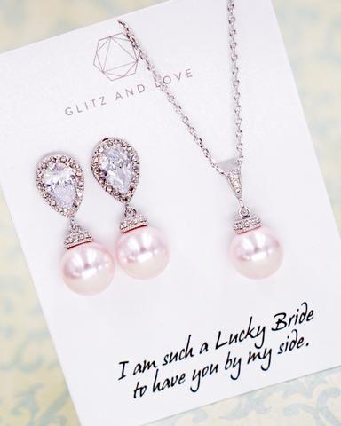 Rosaline Pearl Jewelry Set, pink pearl earrings, pink pearl necklace, bridal earrings, wedding jewelry, bridesmaid earrings, bridal shower gifts, gifts idea for her, www.glitzandlove.com