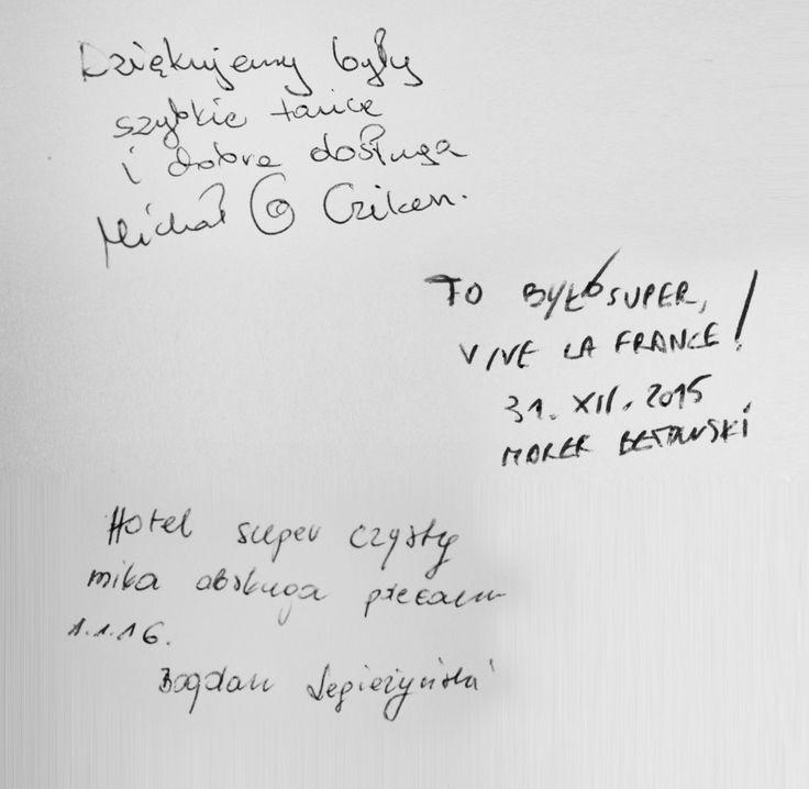 Wpis w hotelowej księdze po zabawie sylwestrowej w Hotelu Lenart