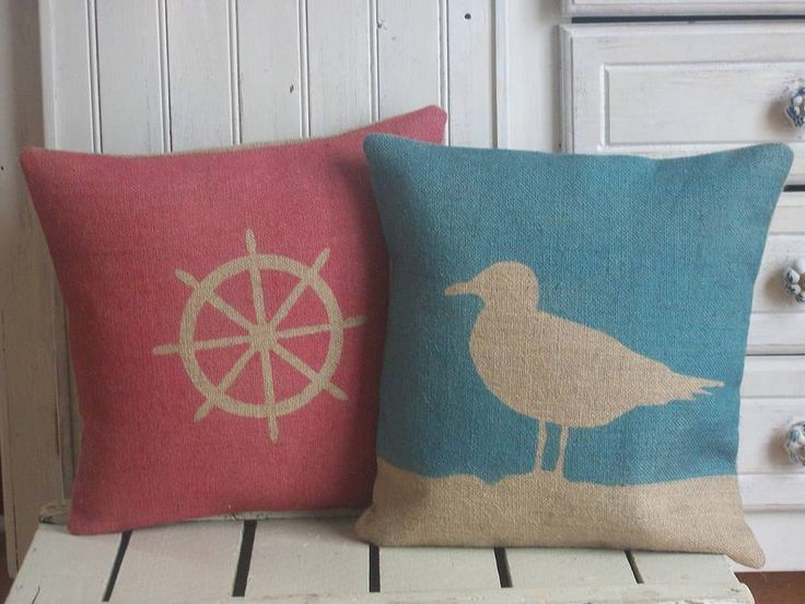 Natural hessian and unbleached calico are the main fabrics for the cushions and accessories in the Rustic Country Crafts range. They have the rustic charm and individuality which when handmade and hand printed have a vintage feel with a modern twist. This unusual seagull cushion is handmade in the UK and is lovingly created from the best quality hessian. It is individually hand printed in blue to co-ordinate with your nautical decor. This comes with a cushion a feather fil... $42.33