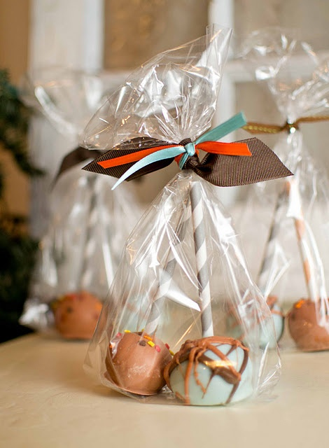 Fall cake pops. to add colorful look use ribbon to twist around the cake pop stick