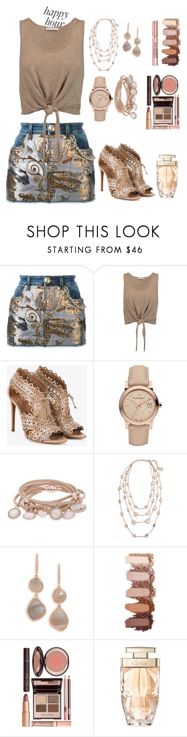 """Happy Hour"" by fabsouza ❤ liked on Polyvore featuring Philipp Plein, Alice + Olivia, Alaïa, Burberry, Marjana von Berlepsch, Karine Sultan, Monica Vinader, L'Oréal Paris, Charlotte Tilbury and Cartier"