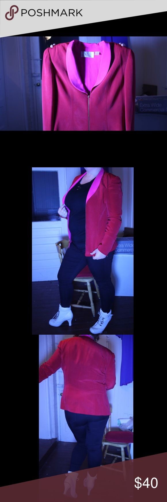 - Red Silk Blazer w/ Hot Pink Lapel - Brand: Dana Buchman  100% silk  Can be dressed up or down, perfect way to accentuate your gorgeousness Dana Buchman Jackets & Coats Blazers