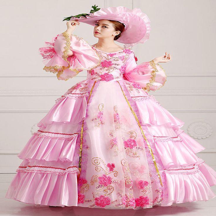 カスタマイズされた2016甘いピンクロングスリーブレースルネッサンスイブニングパーティードレスマリー·アントワネットボールガウン用女性(China (Mainland))