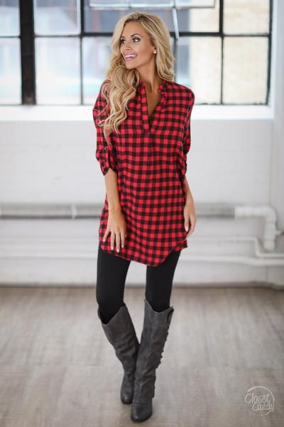 Best Days Flannel Tunic - Red