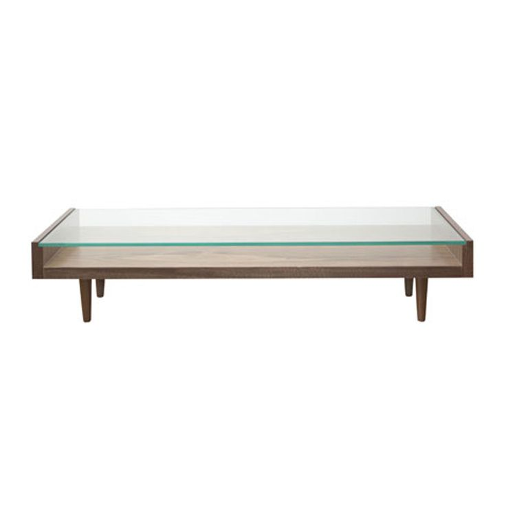 Coffee table walnut 'U' with 10mm clear toughened glass top on solid walnut turned legs – 25ct/wal