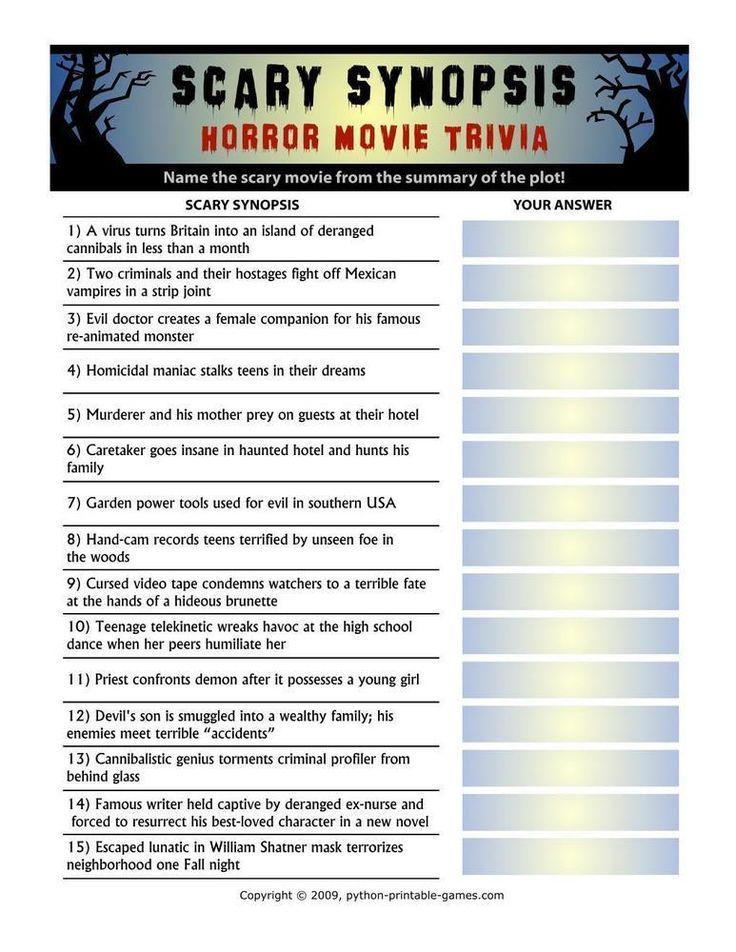 Halloween: Scary Synopsis Horror Movie Trivia, $3.95