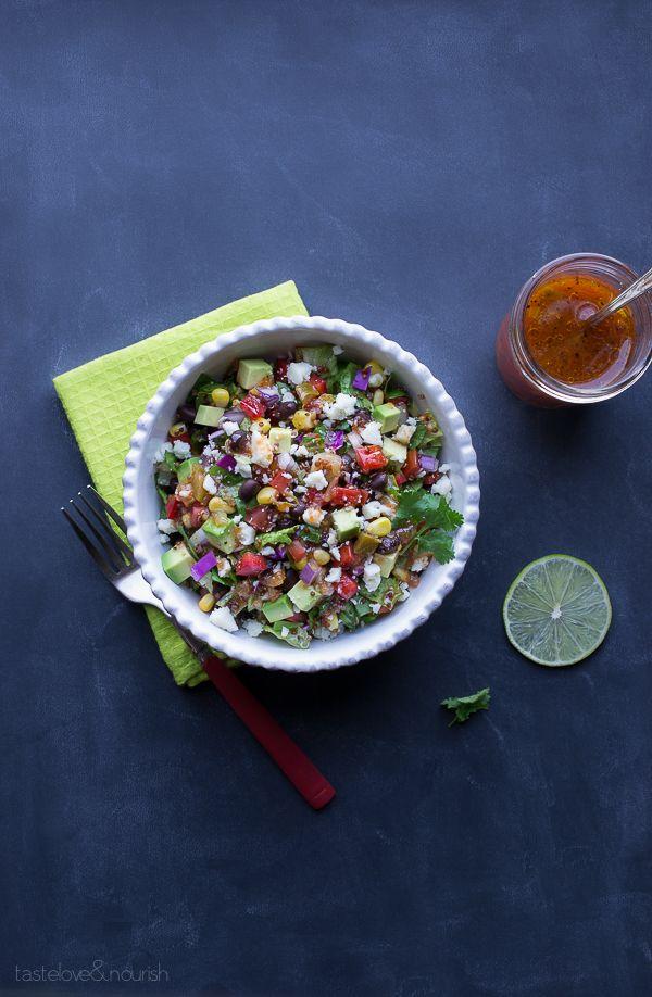Southwest Chopped Salad with Salsa Vinaigrette | @tasteLUVnourish on TasteLoveAndNourish.com